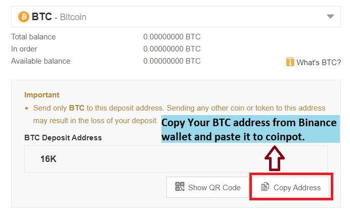 copy Binance address to send BTC to the coinpot faucets