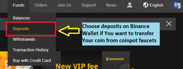 Choose deposit to send BTC from and earn free bitcoins - coinpot tutorial