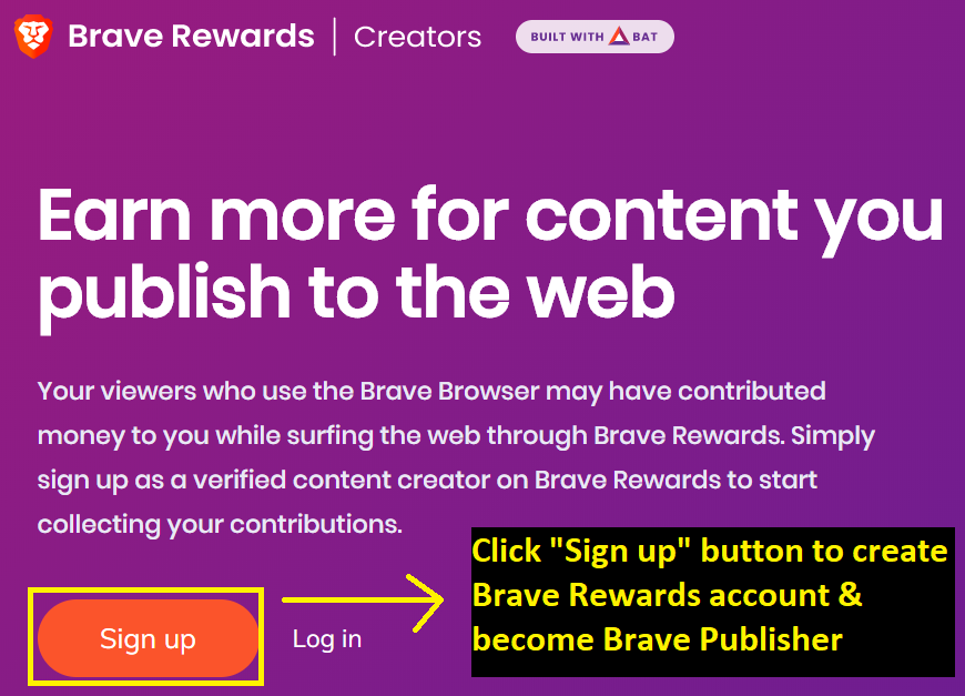 Brave browser rewards - how to become publisher & Sign Up