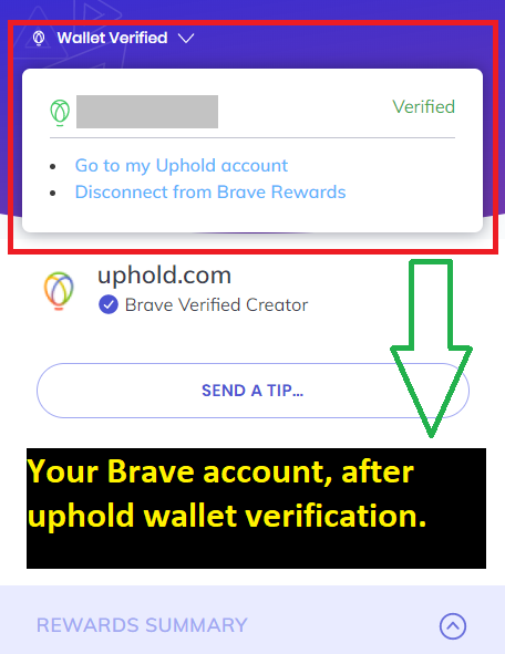 brave browser review - Brave account after uphold wallet verification